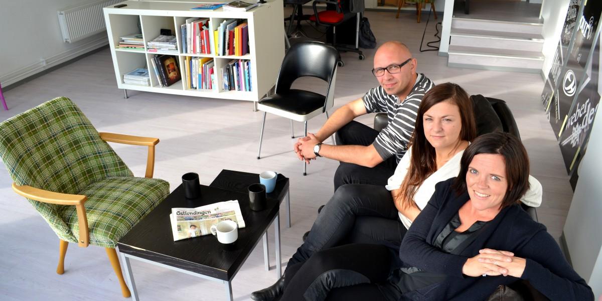 Luftige lokaler som dette kan du bare drømme om hvis du etablerer byrået ditt i Oslo. Det mener Marius Fossum (f.v.) Catrina White og Anita Ulvebne.